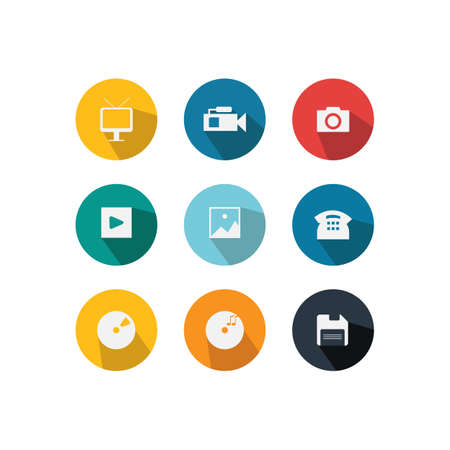 Set of various icon vector in circle shape background with long shadow style design Ilustrace