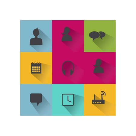 Set of web icons in modern flat long shadow design. Web elements icons Vector design image
