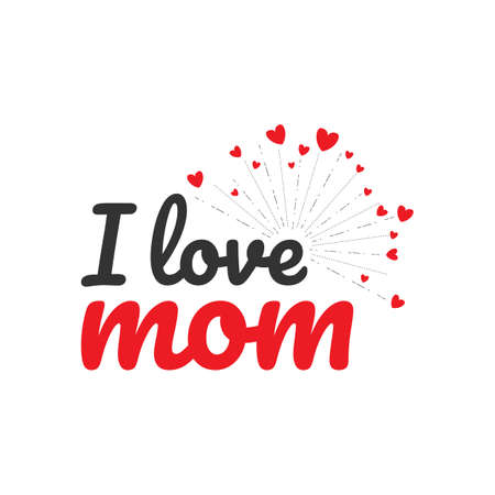I love mom handwritten lettering text for vector image. Happy mothers day i love mom vector image Ilustrace