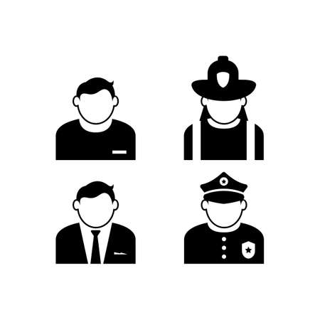 Vector icons of people with a variety of jobs. Avatar people icon with various job in black color