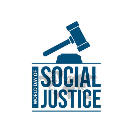 World day social justice on february 20 typography vector image. World justice day celebration with hammer of justice icon typography lettering logo vector 向量圖像