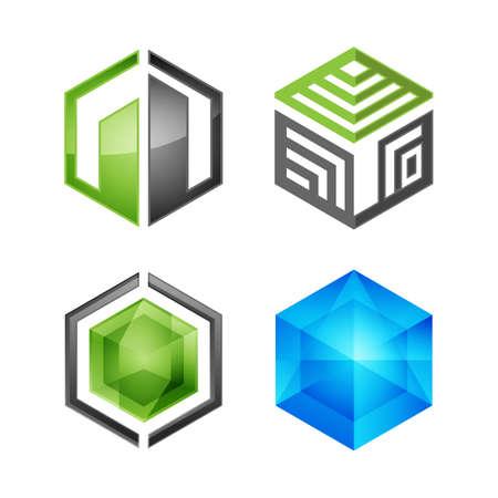 Set of abstract hexagon shape logo design template vector. Hexagon corporate logo set vector image
