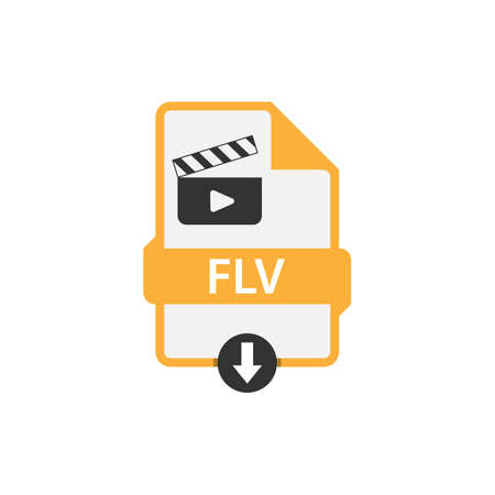 Flv download video file format vector image. Flv file icon flat design graphic video vector Vectores