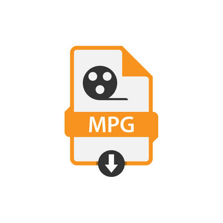 MPG download video file format vector image. MPG file icon flat design graphic video vector