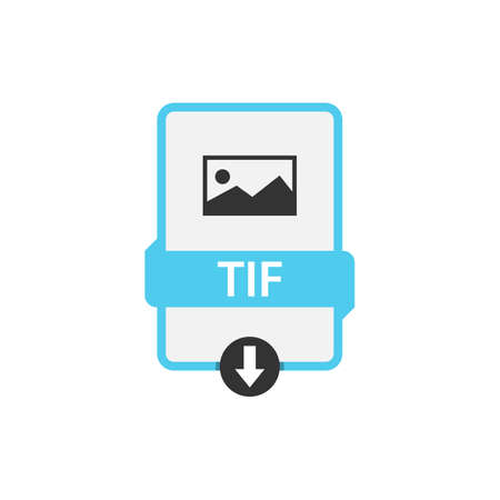 TIF download file format vector image. TIF file icon flat design graphic vector  イラスト・ベクター素材