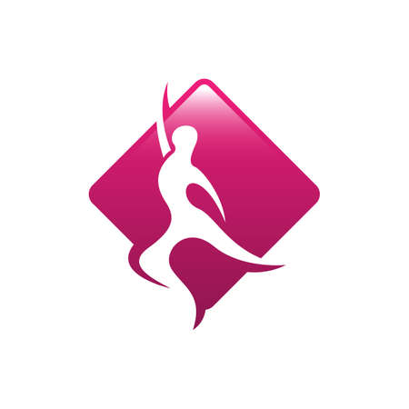 Abstract people dance on square background shape with negative space style design