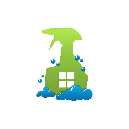 Cleaning service vector logo emblem or icon design template. Home with soap foam and spray cleaning. Clean house isolated illustration.
