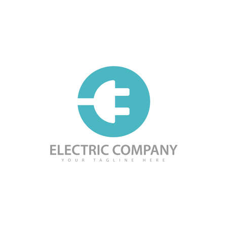 Circle electricity logo with electric plug icon in negative space design technique style vector