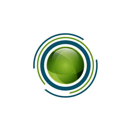 Abstract circle technology logo concept design vector illustration. Circle with irregular lines on outside tech logo concept