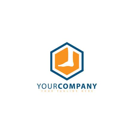 Hexagon feet massage logo design vector image. Feet massaging logo in negative style technique design image