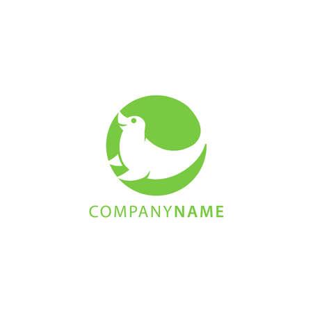 Green color silhouette of sea lion animal logo inside circle shape in negative style technique design vector illustration