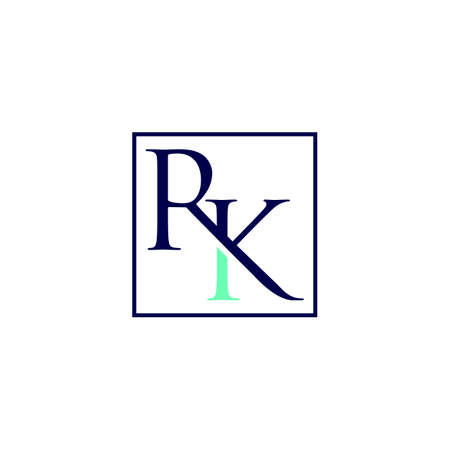 Letter RK logo design concept inside square shape isolated on a white background