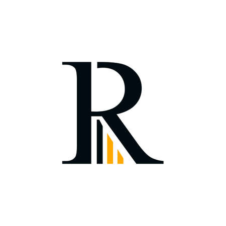 Letter R business and finance typography logo vector design isolated on a white background. Business finance logo with simple finance graphic bars design