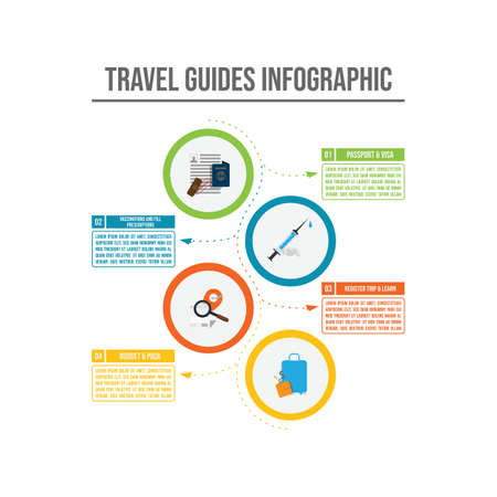 Travel guides infographic with steps and icon element vector template
