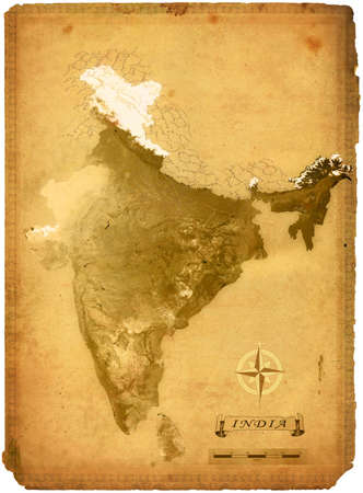 vintage world map:  physical map of India