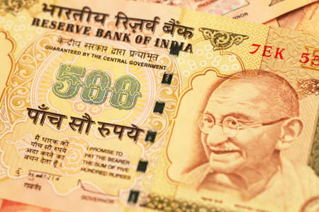 indian currency: Disparo de macro de divisas de la India