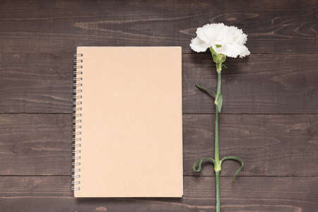spacial: Notebook and carnation flower are on the wooden background.