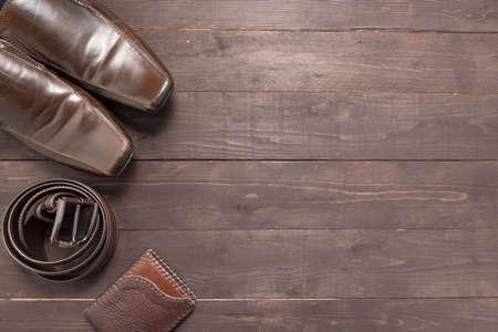 Elegant Set Brown Mens Shoes Leather Belt Blue Shirt