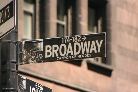 backstage: Broadway street sign in New York