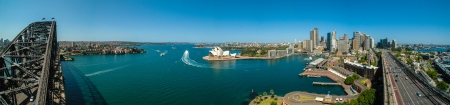 downunder: The Sydney Harbour with the Opera House and Harbour Bridge, Australia  Stock Photo