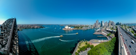 sydney harbour bridge: The Sydney Harbour with the Opera House and Harbour Bridge, Australia  Stock Photo