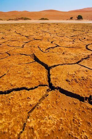 extreme heat: Dried lake in the Namib desert, Namibia Stock Photo