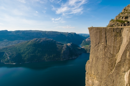 enjoys: A woman enjoys the view from the Pulpit Rock, Norway