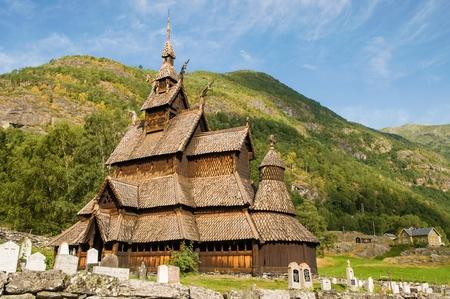 The stave church  wooden church  Borgund, Norway