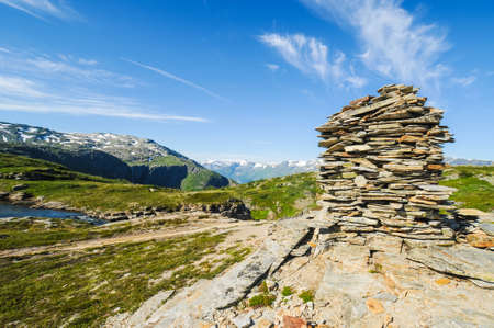 high plateau: Signs of slate stone on the Hardangervidda, a high plateau in Norway