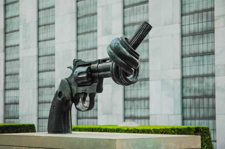 war crimes: Peace monument in front of UN building in New York City, USA