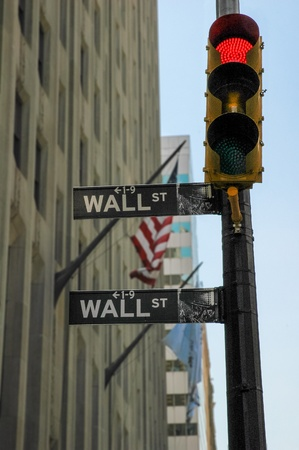 Red light on Wall Street in New York City, USA photo
