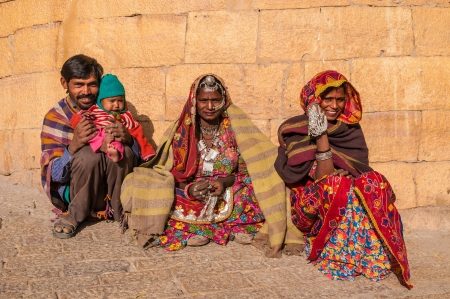 An Indian family in colorful saris and jewelery, Jaisalmer, India
