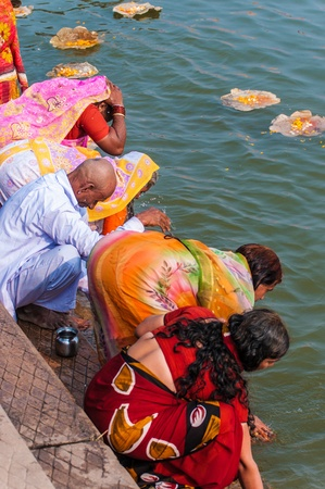 Indians celebrate a Hindu ritual in the Ganges River, Varanasi, India