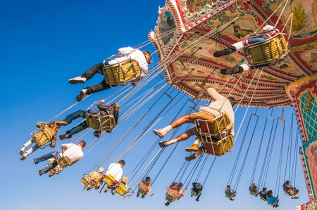 chain swing ride at the Munich Oktoberfest, Munich, Germany
