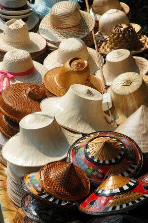 coolie hat: Coolie hats on sale in Bangkok