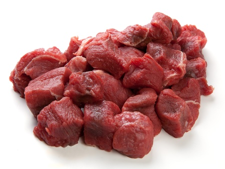 Diced or cubed raw beef steak photo
