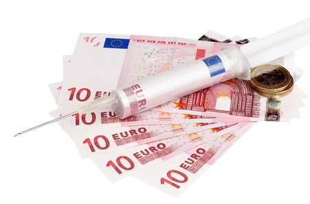 Syringe containing euro bill with ten euros notes. Stock Photo - 11641633