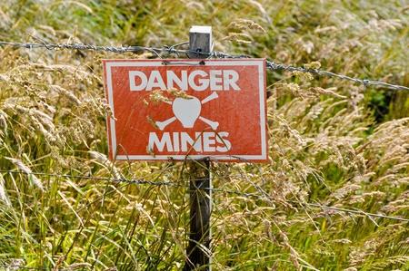 Minefield danger sign Falklands photo