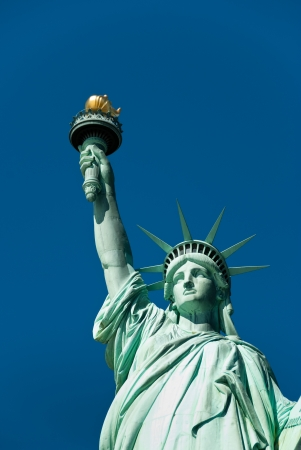 Statue of Liberty with blue sky background