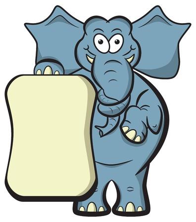 elephant cartoon: Cartoon elefante con un tronco annodato a memoria jog con il cartello in bianco per copyspace Vettoriali