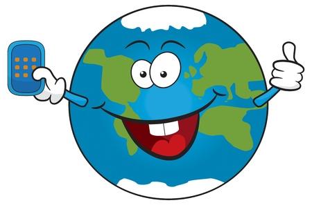 Cute cartoon earth holding mobile phone.