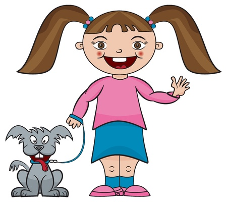 illustration of little girl smiling and waving with pet dog Stock Vector - 17070874