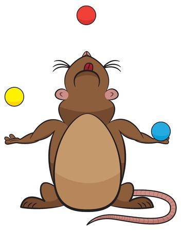 cartoon rat juggling three balls. Stock Vector - 17070875