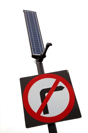 no right turn street sign with solar panel for lighting Stock Photo - 17736713