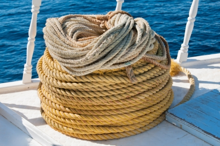 Coiled natural rope showing texture