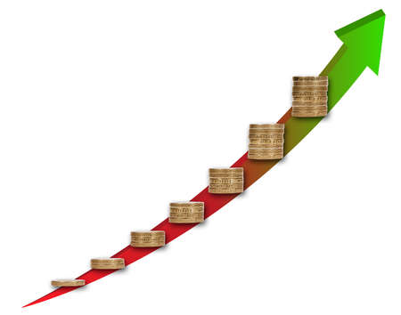 Capital growth chart concept with stacks of coins Stock Photo - 19337295