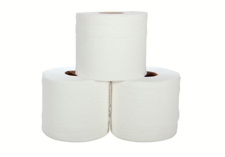 Three white toilet rolls isolated on a hite background photo