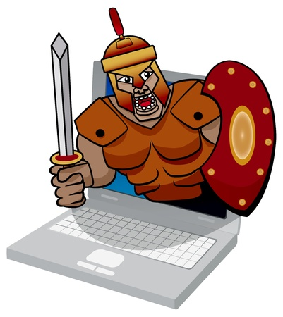 threat: Trojan soldier emerging form laptop screen showing virus threat  Illustration