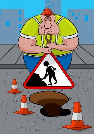 Road worker asleep leaning on his shovel and Men At Work sign  Stock Vector - 19728149