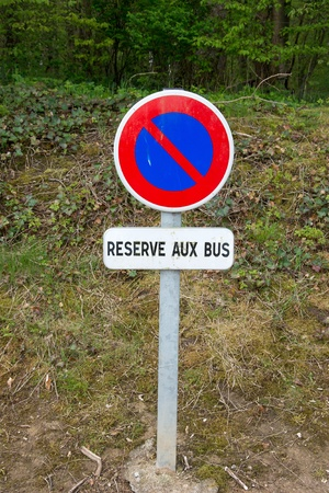 French sign for bus parking Stock Photo